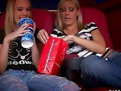 Teen naugthy lesbo babes in adult cinema