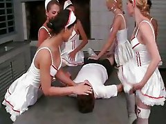 Six Insanely Hot Tranny Nurses Gangbang Patient