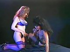 Horny lesbos play with sex toys