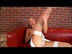 Blonde babe masturbates in sheer stockings