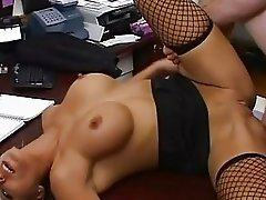 Nasty blonde secretary in fishnet stockings gets drilled hard in the office
