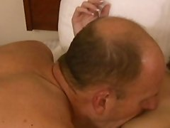 Gorgeous milf with big breasts swallows cum in bedroom action