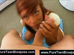 Nubian teenager blowing POV cock