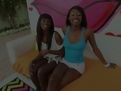 Ana Foxxx and her lustful ebony girlfriend lick and suck white dick and balls