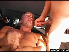 Affectionate bald gay swallowing cum after being banged hardcore