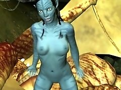 Neytiri masturbates her juicy pussy in the Avatar forest