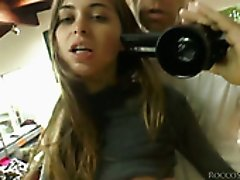 Two dark haired lusty teens blow hard bonkers on camera