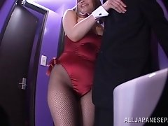 Brunette in pantyhose gives both titjob and blowjob