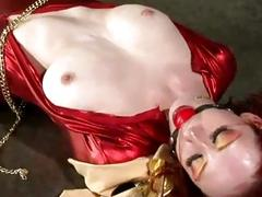 Gagged and tied up ginger sluts molested by master BDSM
