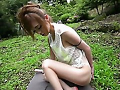 Lustful Mikuru Shiina is teased with a magic wand outside