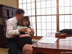 Thick Japanese office worker moans while riding the boner
