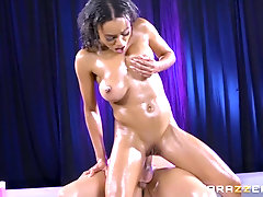 Ebony babe Anya Ivy swallows cum after an oily fuck session