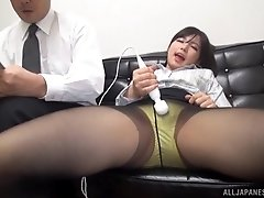 Japanese secretary in pantyhose fucked hardcore at the office