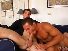 Sissy boy gives blowjob to his friend in order to fuck his GF