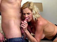 Mature MILF Molly Maracas pussy licked and fucked on the bed