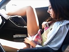 Tight chick gets off on flashing her pretty panties in public