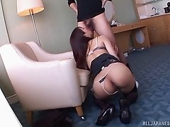 Round-ass brunette from Asia has the doggy sex with her lover