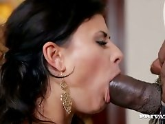 Lubricious whore Billie Star guzzles huge black cock and gets her ass licked and fucked