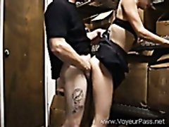 Perverted guy drills nasty female co-worker in front of a hidden camera