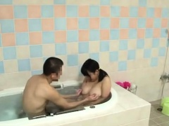 Buxom Japanese girl loves to suck and fuck in the bathtub