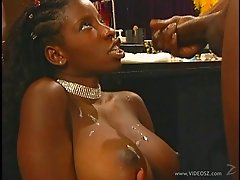 Ebony babe Vanessa Blue sucking cock and getting fucked hardcore