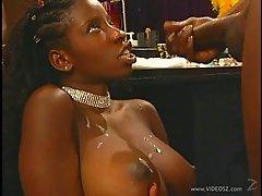 Ebony babe Vanessa Blue sucking cock and getting fucked hardcore