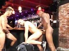 black guys sharing a bartender in a pub
