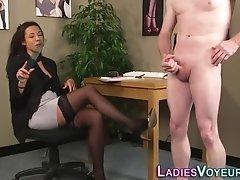 Femdomina measures cock