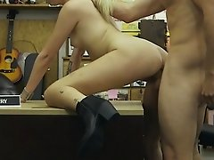 Blonde babe makes money in the shop