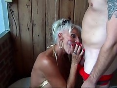 Two lucky grannies giving that stiff cock the best possible sucking