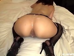 Brunette Japanese babe Ayami Shunka gets cum on her round firm ass