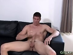 Cock tugging soldier cums