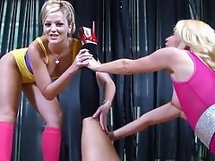 Lesbian porn stars do stretches while working out before fingering nicely