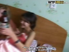 Three naughty college girlfriend wake up early in the morning after crazy night