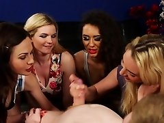 CFNM brit babes wanking lucky dudes cock
