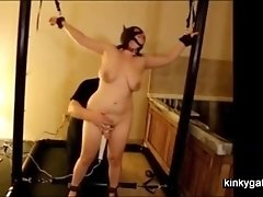 My slave Sally, a mature catwoman. Tied and getting vibes via hitachi.