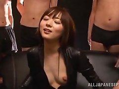 Vibrators, double blowjob and facial with Asian Slut