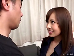 Japanese beauty rides in reverse then swallows warm cum