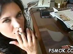 Hot babe smoking
