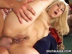 Blonde big ass bitch has a hot fuck to enjoy