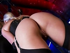Two lusty bombshells get nailed anally in the dungeon