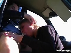 An amateur gives a deepthroat face fucking blowjob in a car
