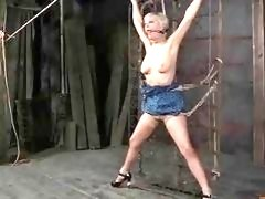 Tied up skank loves being toyed by mistress BDSM porn