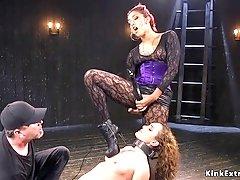 Master torments ebony and brunette sluts
