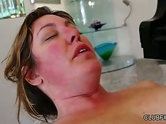 Lustful chick Daisy Leon gives great tongue job to busty mature whore Maple Lee