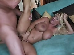 Gorgeous blonde cougar with a nice ass enjoying a hardcore cowgirl style fuck