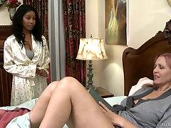 Interracial lesbian licking with pornstars Julia Ann and Jenna Foxx