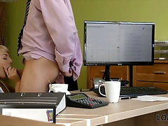 Job interview is turned into oral petting with blonde secretary Katy