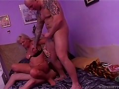 Mature granny visits back in her old days and get a brutal nailing from two devoted lads
