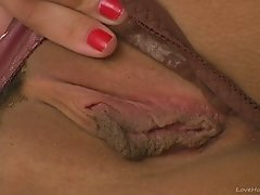 Raunchy busty beauty chasing intense orgasms solo